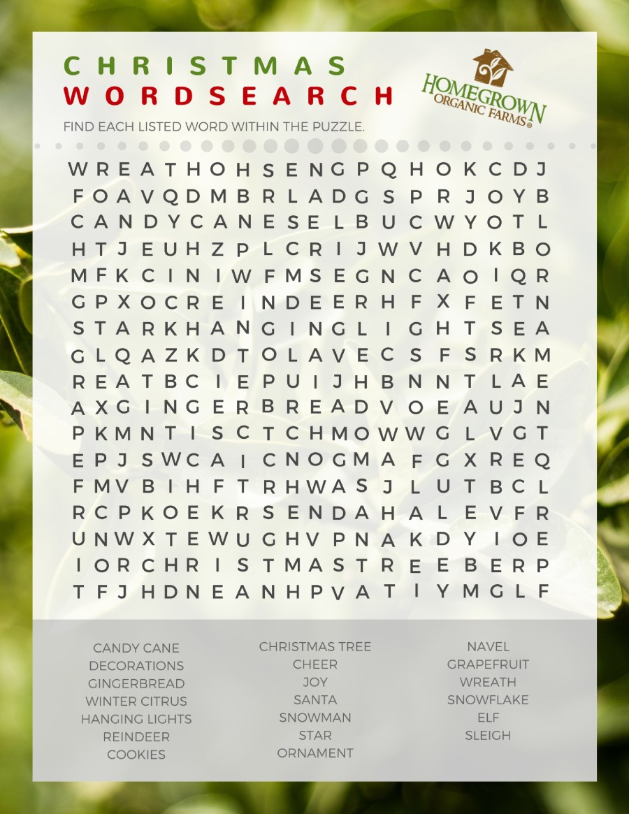 image relating to Christmas Word Search Printable identify Xmas 2016 Printable Phrase Seem Homegrown Natural Farms